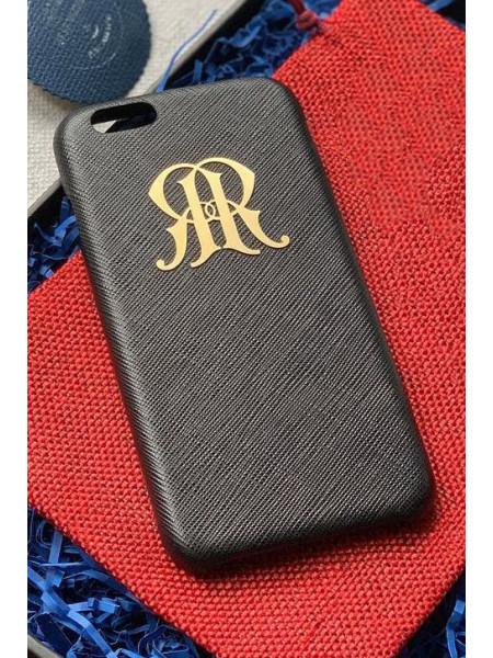 Именной, чёрный, кожаный чехол с металлическим гербом России Mobcase 825