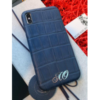 Именной, дорогой, тёмно-синий чехол из мягкой крокодиловой кожи Mobcase 783 для iPhone 7, 8, 7 Plus, 8 Plus, X, XS, XSMAX, XR
