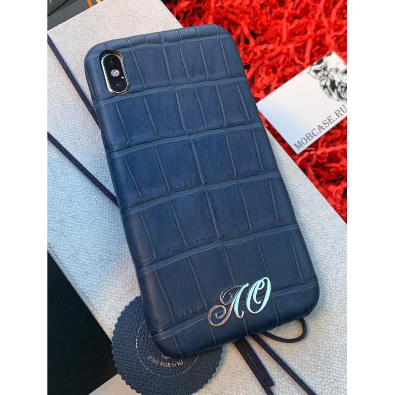 Именной, дорогой, тёмно-синий чехол из мягкой крокодиловой кожи Mobcase 783 для iPhone