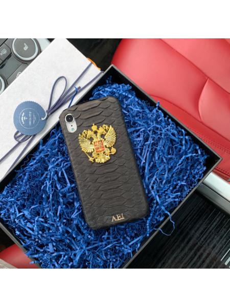 Именной, кожаный чехол чёрного цвета с золотым гербом России, Mobcase 731 для iPhone