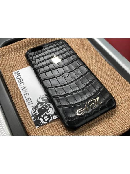 Именной, кожаный чехол, чёрный с логотипом Apple Mobcase 815 для iPhone 7, 8, 7 Plus, 8 Plus, X, XS, XSMAX, XR