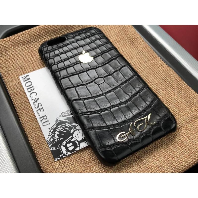 Именной, кожаный чехол, чёрный с логотипом Apple Mobcase 815 для iPhone