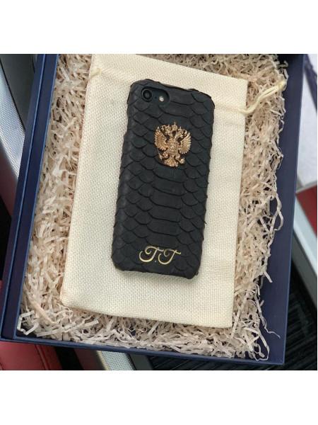 Именной кожаный чехол из натуральной, чёрной кожи питона с гербом России, Mobcase 910