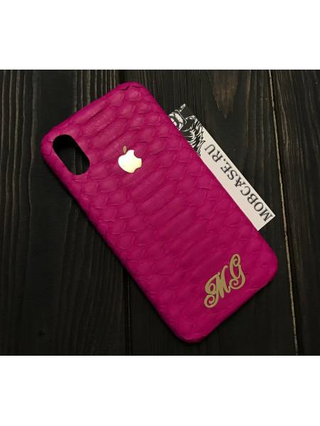 Именной, кожаный чехол, розовый с логотипом Apple Mobcase 816 для iPhone 7, 8, 7 Plus, 8 Plus, X, XS, XSMAX, XR