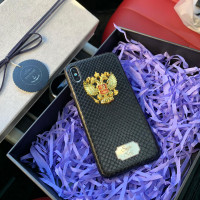 Именной, кожаный чехол с большим, металлическим гербом России, Mobcase 733 для iPhone 7, 8, 7 Plus, 8 Plus, X, XS, XSMAX, XR