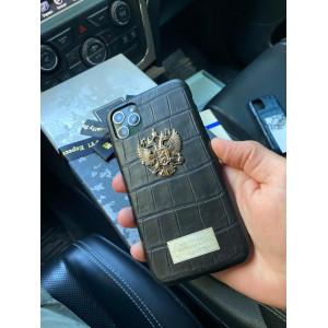 Именной, кожаный чехол с гербом России Mobcase 1109