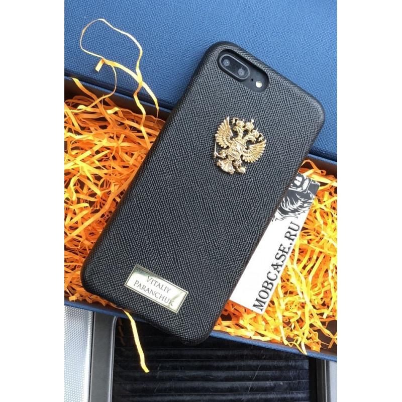 Именной кожаный чехол с гербом России Mobcase 616, для iPhone