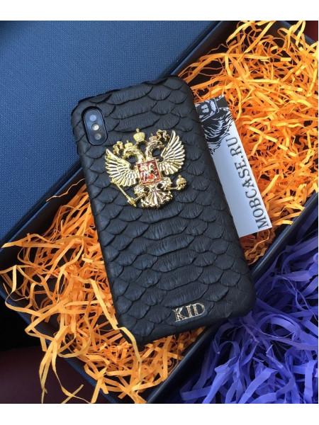 Именной, кожаный чехол с гербом России Mobcase 666 для iPhone 7, 8, 7 Plus, 8 Plus, X, XS, XSMAX, XR
