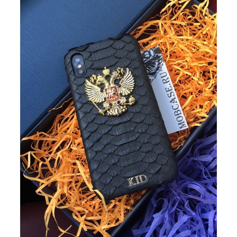 Именной, кожаный чехол с гербом России Mobcase 666 для iPhone