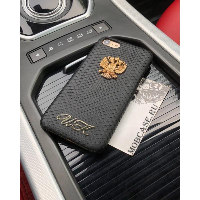 Именной, кожаный чехол с гербом России, Mobcase 699 для iPhone