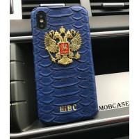 Именной, кожаный чехол, синий с золотым гербом России Mobcase 814 для iPhone 7, 8, 7 Plus, 8 Plus, X, XS, XSMAX, XR