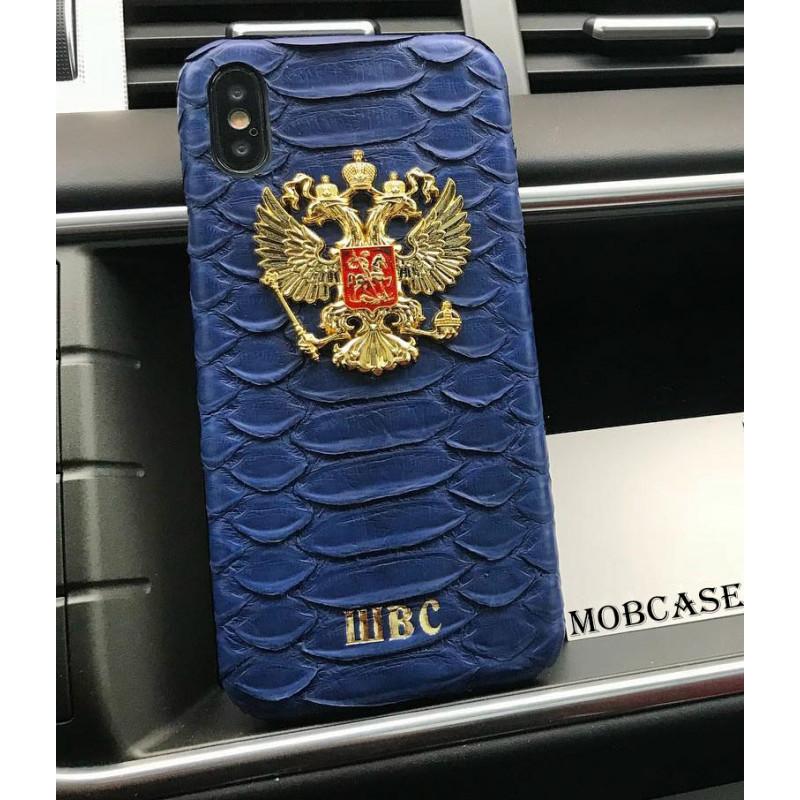 Именной, кожаный чехол, синий с золотым гербом России Mobcase 814 для iPhone