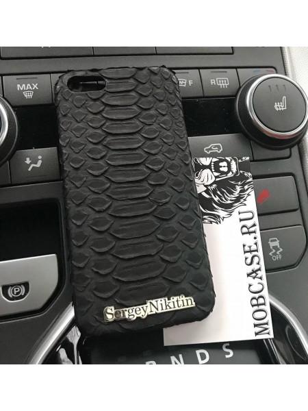 Именной, кожаный, чёрный чехол из кожи питона Mobcase 817 для iPhone