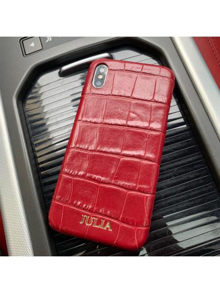 Именной, красный, кожаный чехол с выделкой под крокодила России Mobcase 826