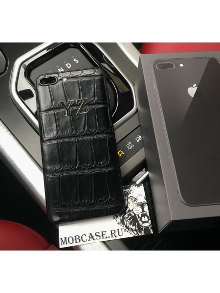 Именной моддинг телефона из чёрной кожи крокодила, Mobcase 841