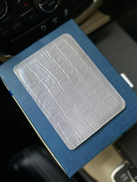 Картхолдер из белой кожи для карт и паспорта Mobcase 1192