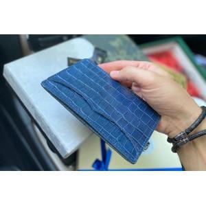 Картхолдер из синей кожи для карт и паспорта Mobcase 1191