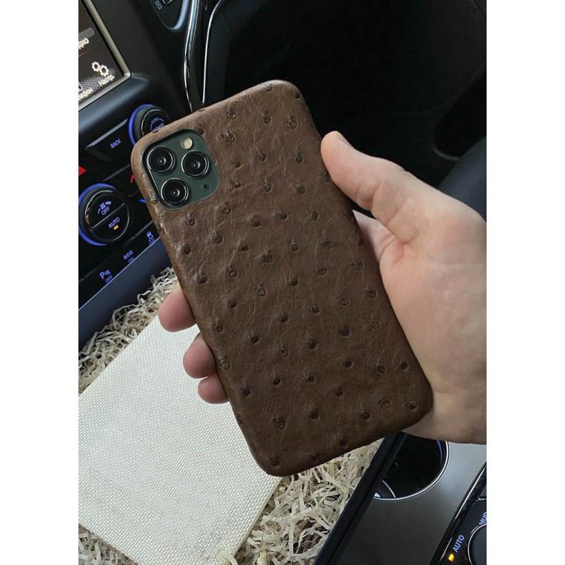 Купить коричневый чехол из страусиной кожи, Mobcase 1074 для iPhone 11 Pro