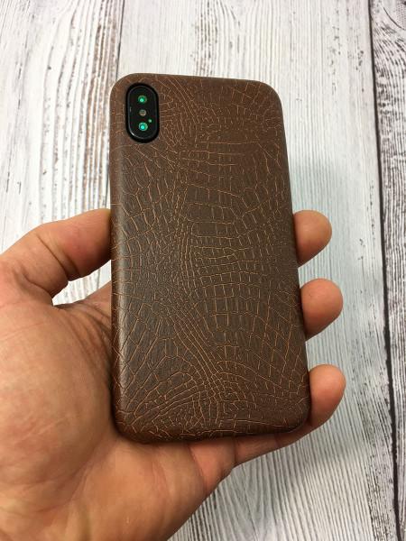 Кожаный, коричневый чехол из качественной эко кожи Mobcase 828 для iPhone XS