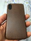 Коричневый, кожаный чехол из качественной эко кожи Mobcase 827 для iPhone X