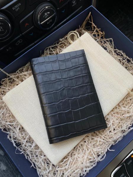 Кожаная, чёрная обложка на паспорт Mobcase 343