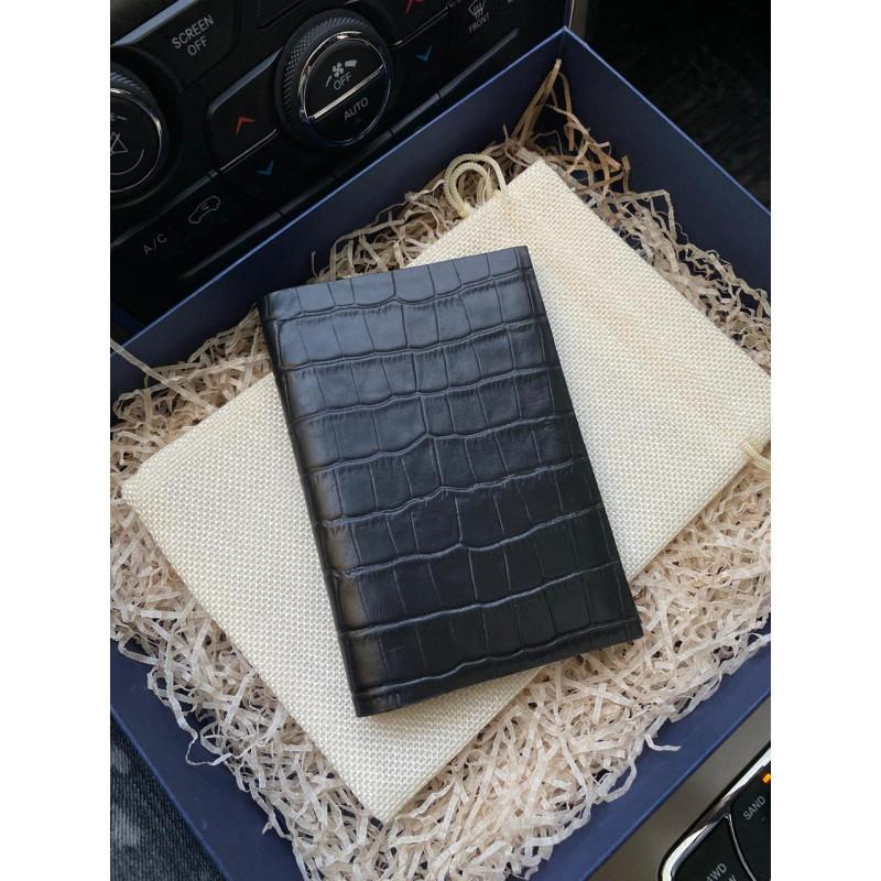 Кожаная, чёрная обложка на паспорт, Mobcase 343