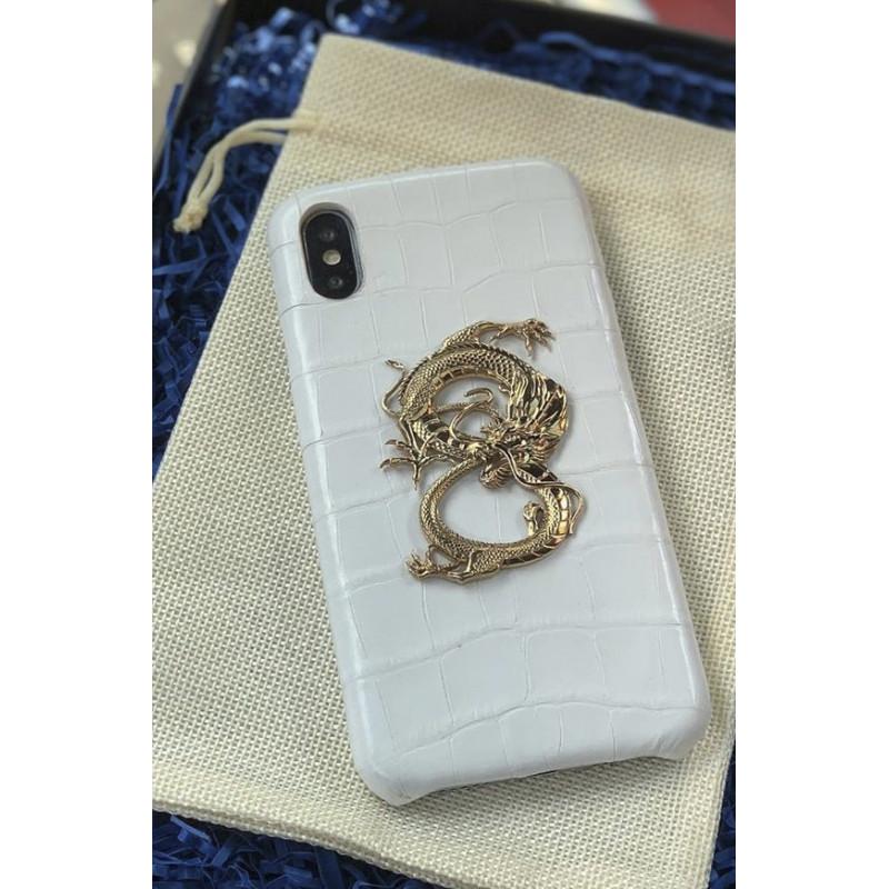 Кожаный, белый чехол с большим, бронзовым драконом, Mobcase 853 для iPhone или Samsung