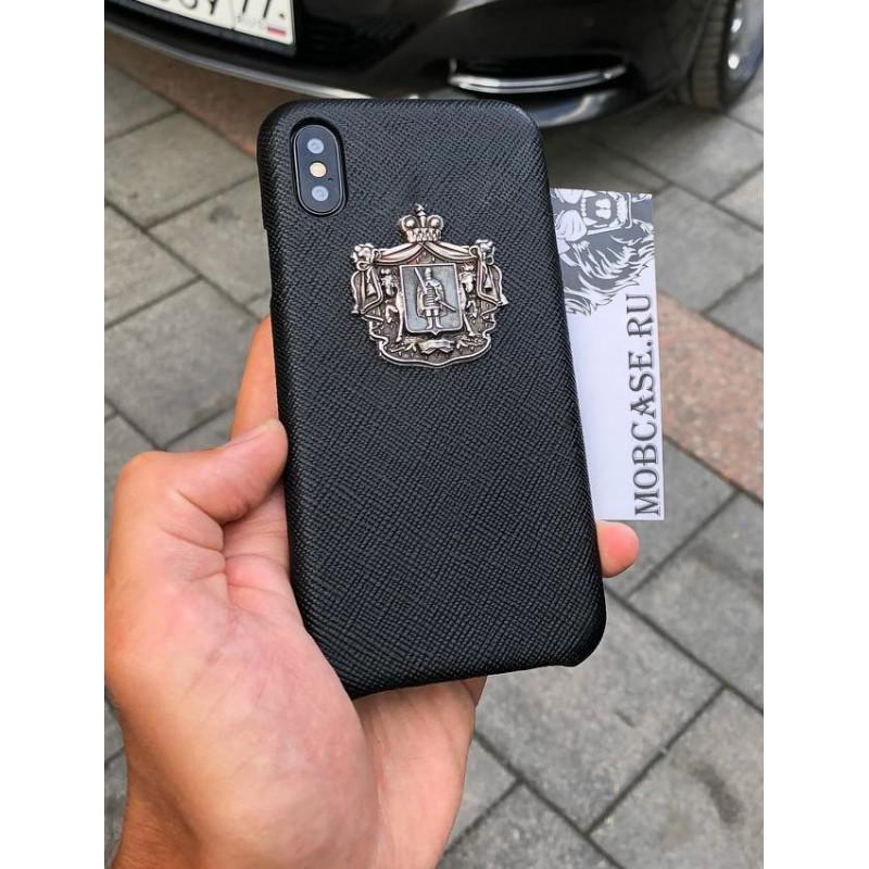 Кожаный чехол, чёрный с серебряным гербом Рязанской области Mobcase 810 для iPhone