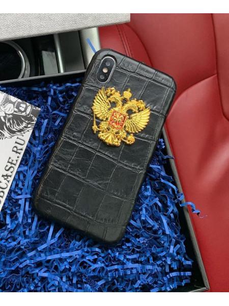 Кожаный чехол, чёрный с золотым гербом России Mobcase 809 для iPhone