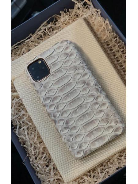 Кожаный чехол из белой кожи питона для iPhone 11 / Pro / Max, Mobcase 950