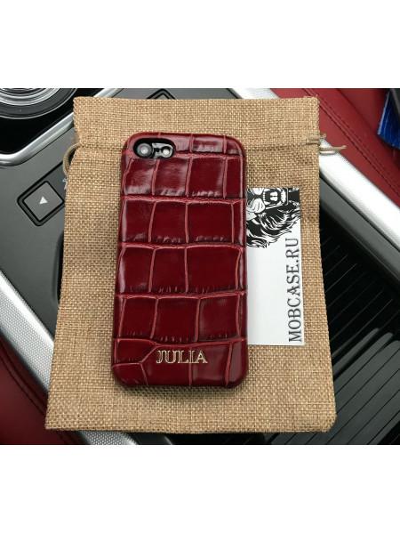 Кожаный чехол из бордовой кожи с выделкой под крокодила Mobcase 805 для iPhone