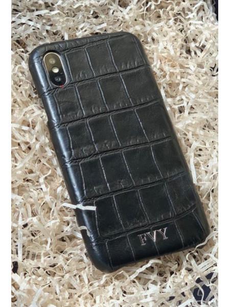 Кожаный чехол из чёрной телячьей кожи с инициалами, Mobcase 893