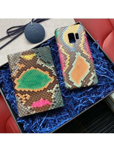 Кожаный чехол из питона в мультирасцветке, Mobcase 852 для iPhone, Samsung