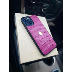 Кожаный чехол из розовой кожи крокодила с логотипом Apple Mobcase 1316