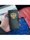Кожаный, чехол книжка с большим, металлическим гербом России, Mobcase 734 для iPhone