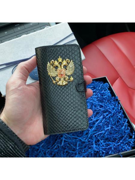 Кожаный, чехол книжка с большим, металлическим гербом России, Mobcase 734 для iPhone 7, 8, 7 Plus, 8 Plus, X, XS, XSMAX, XR
