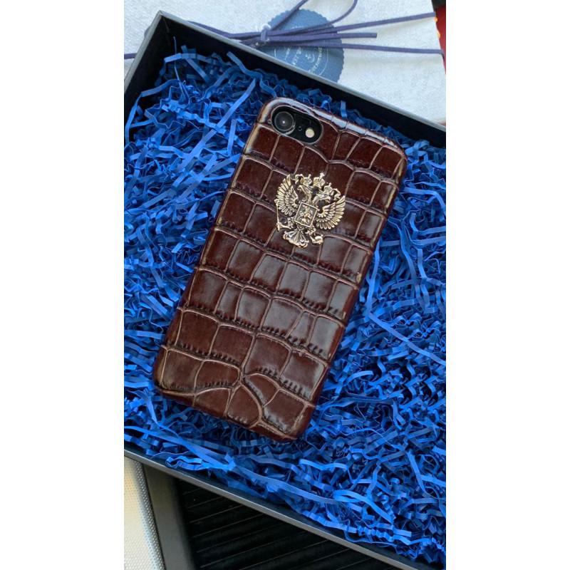 Кожаный чехол коричневого цвета с бронзовым гербом России Mobcase 838