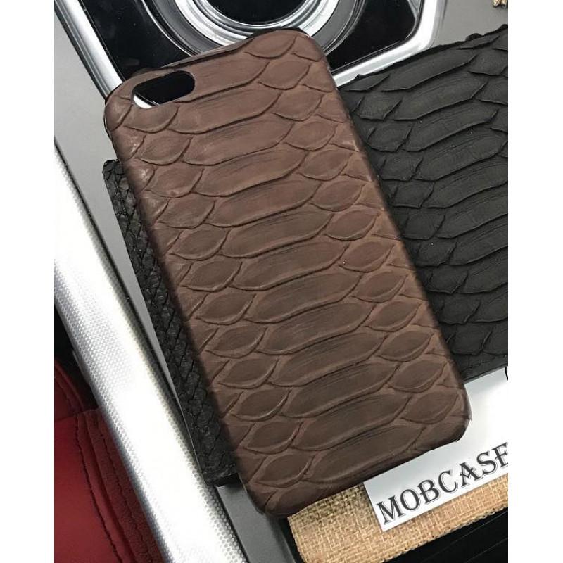Кожаный чехол, коричневый из натуральной кожи питона Mobcase 813 для iPhone