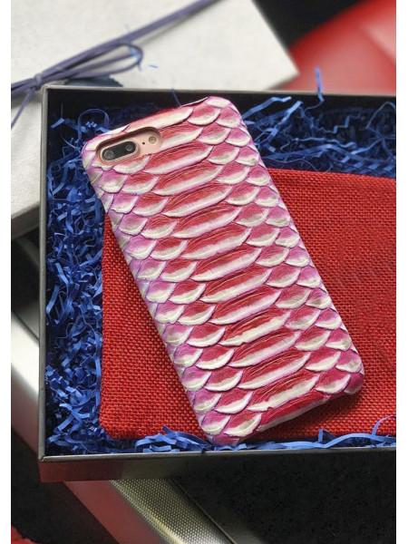 Кожаный чехол красно-белого цвета из кожи питона, Mobcase 899