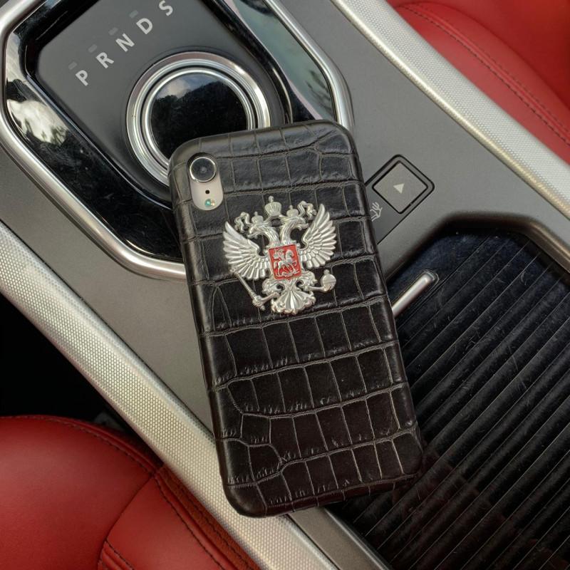 Кожаный чехол с большим, металлическим гербом России, Mobcase 941 для iPhone XS