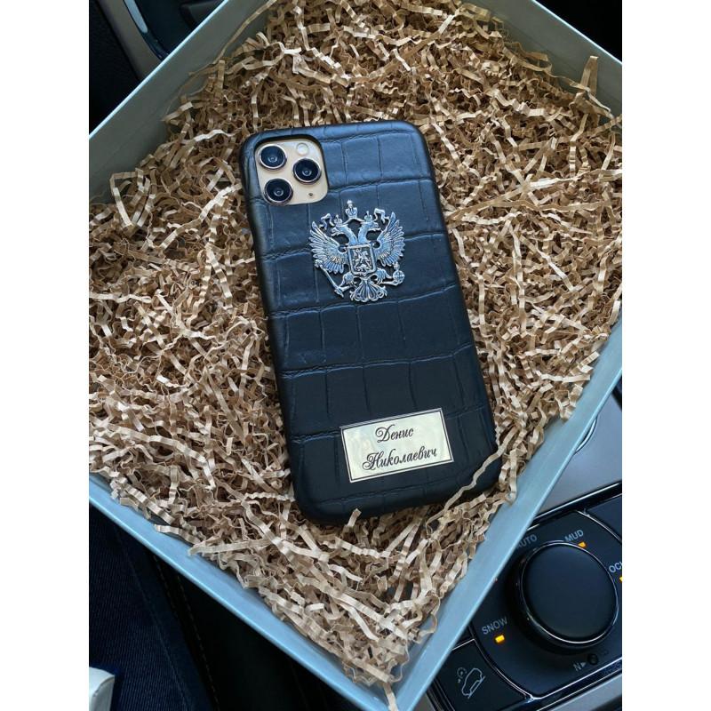 Кожаный чехол с гербом России, именной табличкой, Mobcase 322