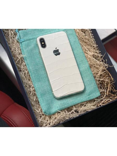 Кожаный чехол с логотипом Apple из натуральной, белой телячьей кожи, Mobcase 913