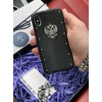 Кожаный чехол с серебряным гербом России, Mobcase 715 для iPhone 7, 8, 7 Plus, 8 Plus, X, XS, XSMAX, XR