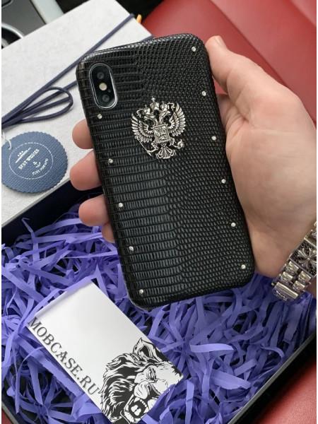 Кожаный чехол с серебряным гербом России, Mobcase 715 для iPhone