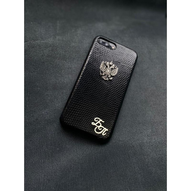 Кожаный чёрный чехол из игуана с гербом России, инициалами Mobcase 1331