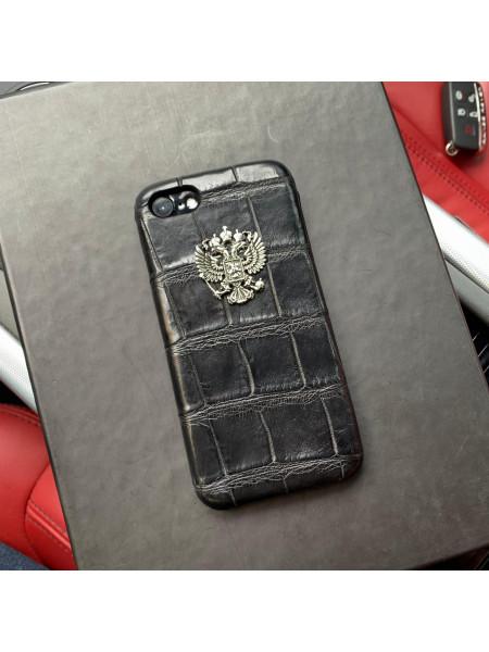 Кожаный, чёрный чехол из кожи крокодила с серебряным гербом России Mobcase 820 для iPhone