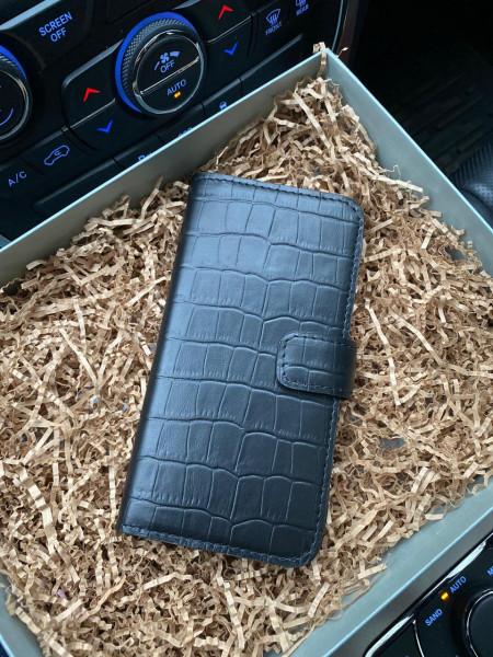 Кожаный, чёрный чехол-книжка, Mobcase 200