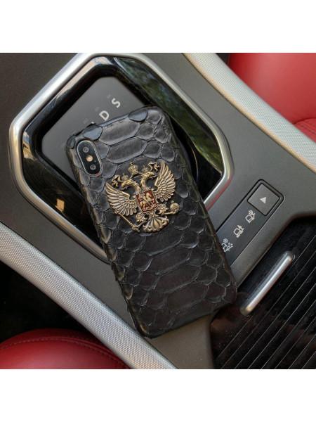 Кожаный, чёрный чехол с большим металлическим гербом России, Mobcase 856