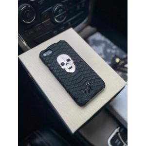 Кожаный чёрный чехол с черепом и логотипом из серебра Mobcase 1303