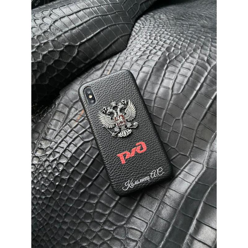 Кожаный чёрный чехол с гербом России и логотипом РЖД Mobcase 1403